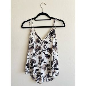 Leith black and white floral cross back tank
